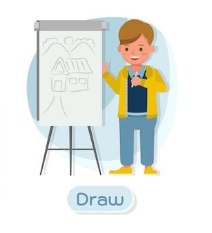 Kindercharakter. zeichnen.