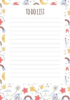 Kindercheckliste für planer und aufgaben mit süßem handgezeichnetem hintergrund