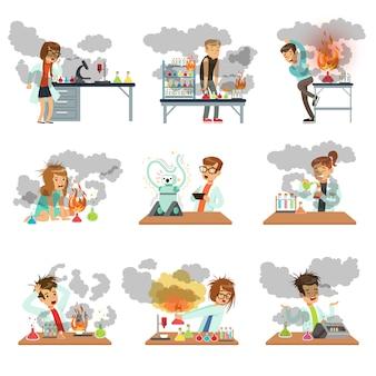 Kinderchemikercharaktere, die nach fehlgeschlagenen chemischen experimenten schmutzig aussehen satz von illustrationen auf einem weißen hintergrund