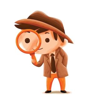 Kinderdetektiv im niedlichen charakterstil