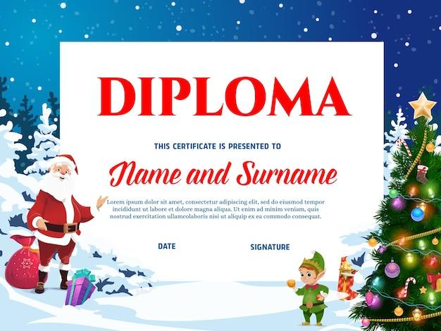 Kinderdiplom für weihnachtsferien mit santa und elfen charakteren. weihnachtsmann mit geschenksack und märchenelfe, die weihnachtsbaumkarikatur verzieren. vorlage für kinder-abschlusszertifikate