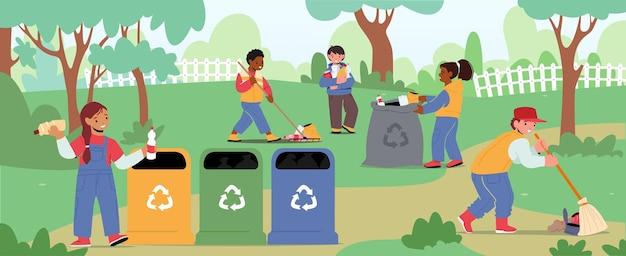 Kinderfiguren, die garten reinigen. ökologieschutz, konzept der sozialen nächstenliebe. freiwillige, die müll im park reinigen