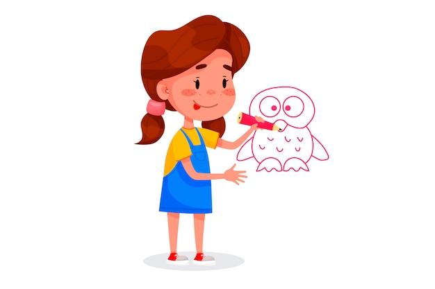 Kinderfiguren zeichnen auf weißen wänden. internationaler kindertag. sommerkinderaktivitäten. vektorabbildungen.