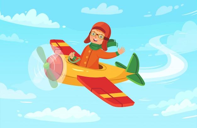 Kinderflieger, der im flugzeug, avia-reise des kleinen jungen und flugzeugflug in der himmelvektorillustration fliegt