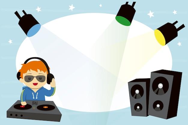 Kinderfotorahmen mit dj und lichtern