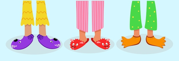 Kinderfüße in farbigen pyjamas und lustigen pantoffeln. vektor-illustration von schlafkleidung und schuhen zu hause. das konzept einer pyjama-party,