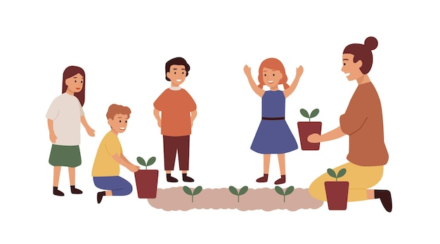 Kindergärtnerin mit flacher vektorillustration der kindergruppe. frau, die blumen pflanzt. gartenunterricht, unterhaltung, unterricht. lächelnde kindergarten- und kinderzeichentrickfiguren.