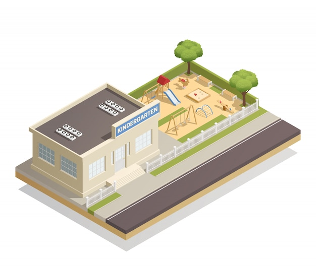 Kindergarten mit spielplatz-isometrischer illustration