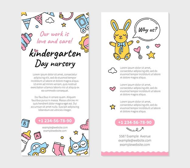 Kindergarten und kindertagesstätte flyer vorlage mit spielzeug ikonen