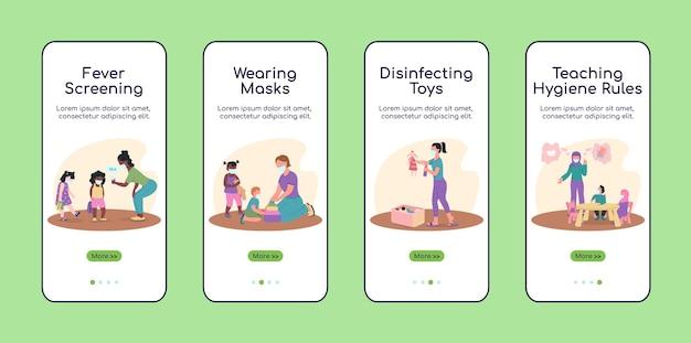 Kindergarten während des covid-onboarding-bildschirms für die mobile app. walkthrough-website 4 schritte mit charakteren. kreative pandemie ux, ui, gui-smartphone-cartoon-schnittstelle, falldrucke-set