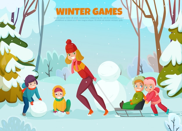 Kindergarten winter walk illustration