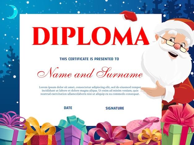 Kindergartendiplom-kinderzertifikat mit weihnachtsmann- und weihnachtsgeschenken. glücklicher weihnachtsmann oder heiliger nikolauscharakter, der fahne hält, verpackte feiertagsgeschenke, verziertes band verbeugt karikaturvektor