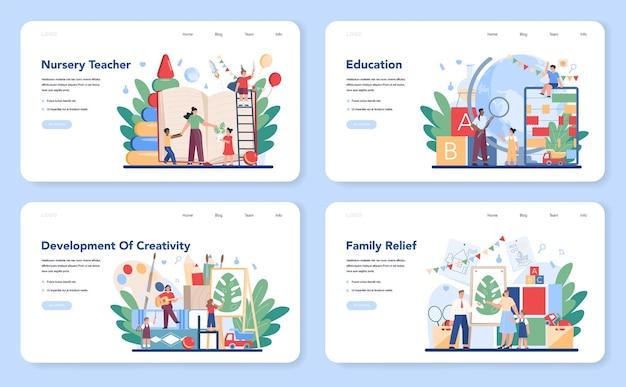 Kindergartener weblayout oder landingpage set. professionelle nany und kinder, die unterschiedliche kreative aktivitäten ausführen. nettes kinderspiel mit spielzeug. kindertagesstätte, vorschulerziehung.
