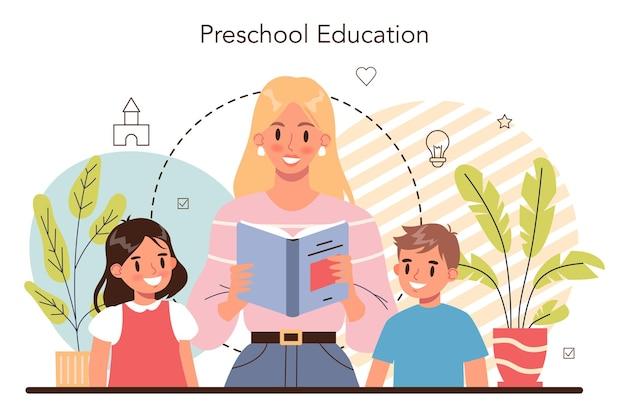 Kindergartenfachfrau und kinder, die verschiedene aktivitäten ausführen different
