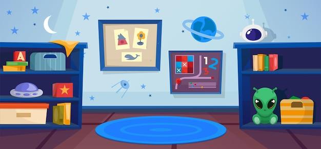 Kindergartenjungenzimmer im kosmoskonzept. platz zum spielen auf dem teppich. ufo, fremd.