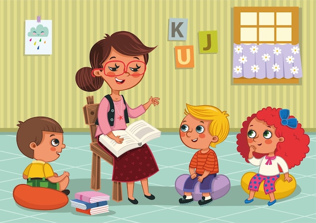 Kindergartenkinder und ihre lehrervektorillustration