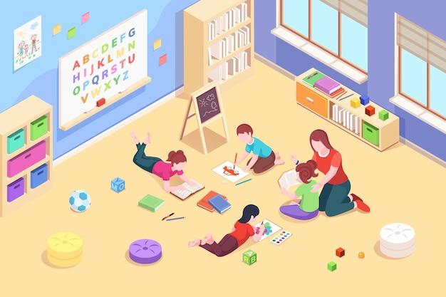 Kindergartenklassenzimmer mit spielenden und lesenden kindern vorschullehrerin mit kindern