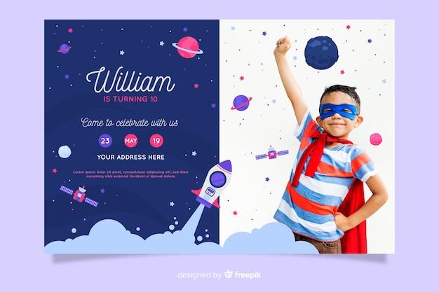Kindergeburtstag-einladungsschablone mit foto