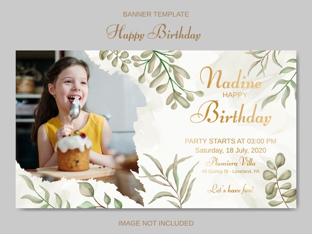 Kindergeburtstagseinladungsschablone mit aquarellblättern