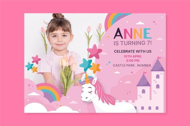Kindergeburtstagseinladungsschablone mit foto