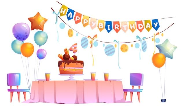 Kindergeburtstagsfeierdekoration und festlicher kuchen