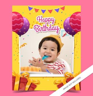 Kindergeburtstagskartenschablone mit foto