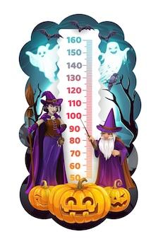 Kindergrößentabelle mit halloween-monstern, laterne
