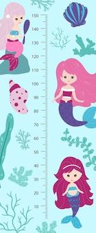 Kindergrößentabelle mit kleinen meerjungfrauen. kindische meterwand für kinderzimmergestaltung. vektor-illustration, cartoon-stil