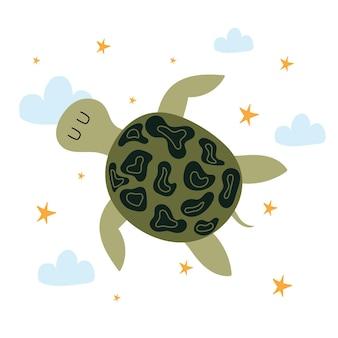Kinderhandgezeichnete illustration der süßen schildkröteschildkröte, die mit wolken und sternen über den himmel fliegt