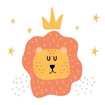Kinderhandgezeichnete illustration eines löwenkopfes löwenkopf mit krone