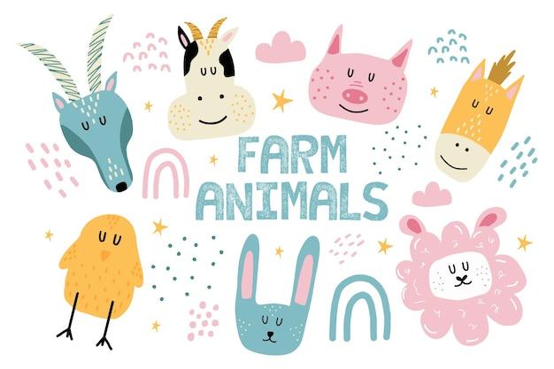 Kinderhandgezeichnetes set von nutztieren set von kuh schafen pferd ziege huhn hase schwein