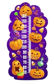Kinderhöhendiagramm mit halloween-kürbislaternen, vektorwachstumsmesser. kindergrößentabelle oder babymaß mit halloween-cartoon-kürbismonstern und süßes oder saures süßigkeiten mit hexentrank