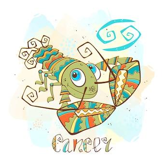 Kinderhoroskop illustration. sternzeichen für kinder. krebs-zeichen
