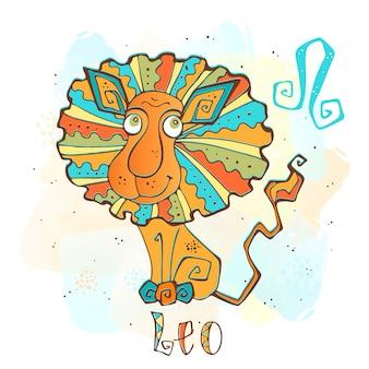 Kinderhoroskop illustration. sternzeichen für kinder. leo unterschreiben
