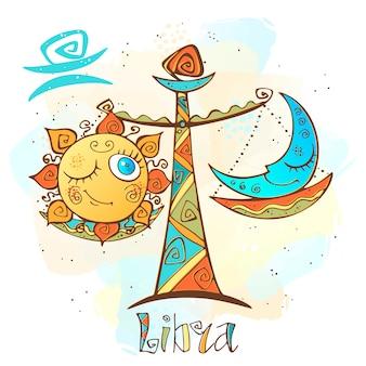 Kinderhoroskop illustration. sternzeichen für kinder. waage zeichen.
