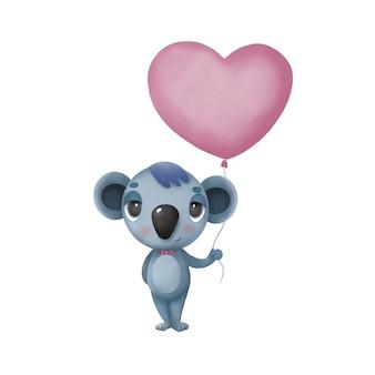 Kinderillustration mit einem koala, der einen herzballon hält