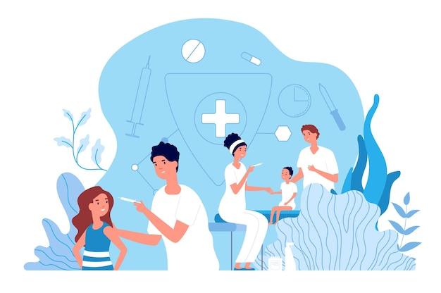 Kinderimpfung. kinderarzt, baby medizinische versorgung. impfpolio und grippe für kinder. konzept für medikamente und gesundheitsschutz. kinderarztimpfung, illustration des arztes im gesundheitswesen