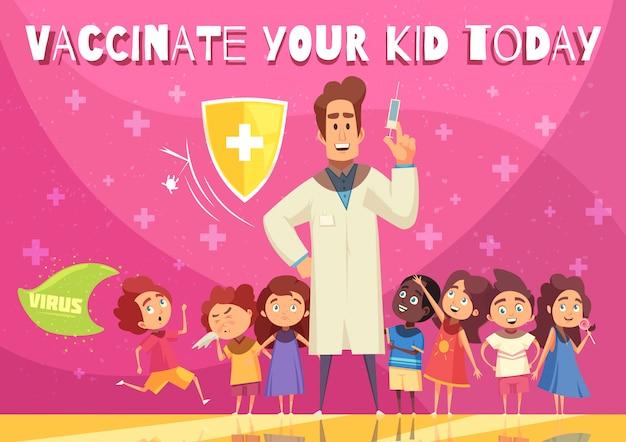 Kinderimpfungsvorteile fördern illustration mit kindergesundheitsschutzschildsymbolarzt mit spritzenkarikatur