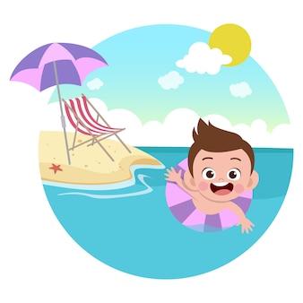 Kinderjunge, der auf strandillustration spielt
