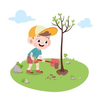 Kinderjunge, der baumillustration pflanzt