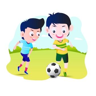 Kinderjunge spielen fußballfußballillustration