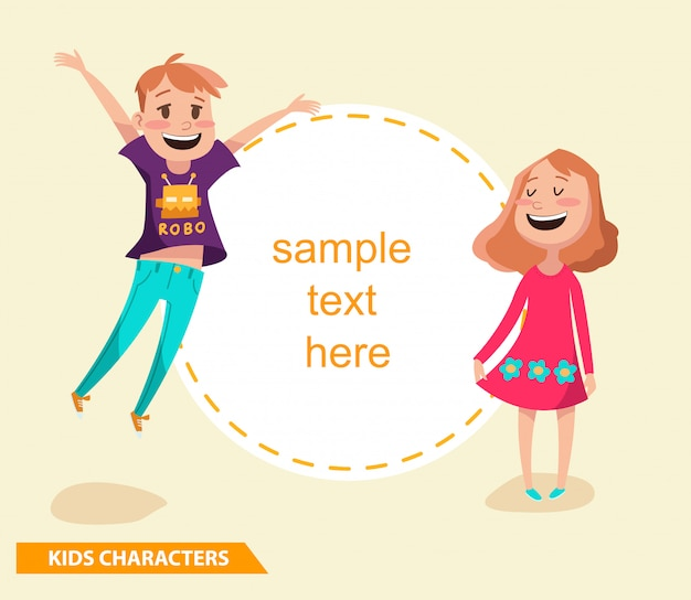 Kinderjungen- und mädchencharaktere entwerfen mit beispieltext