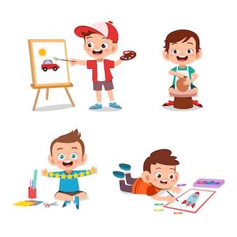Kinderjungenkunst-hobbys
