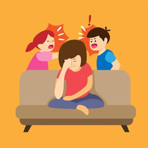 Kinderkampf und schreien um eltern, verärgerte müde mutter im sofa mit ungezogenen kindern in der karikaturflachillustration