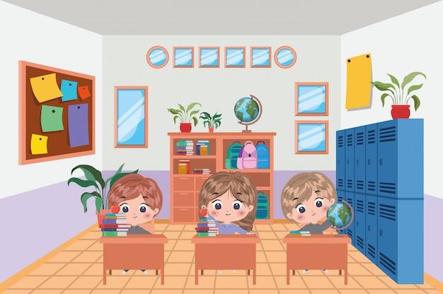 Kinderkarikaturdesign, schulbildungslektionsstudie, die klassenzimmerinformationen und wissensthema vektorillustration lernt