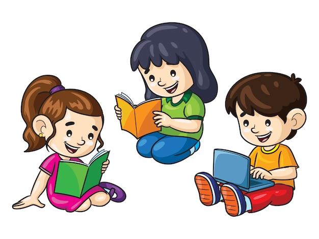 Kinderkarikaturen, die bücher und laptop lesen