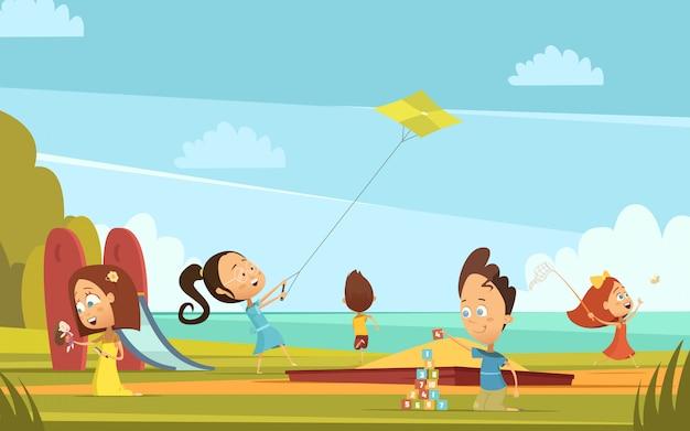 Kinderkarikaturhintergrund mit sommeraktivitätssymbolen im freien spielend, vector illustration