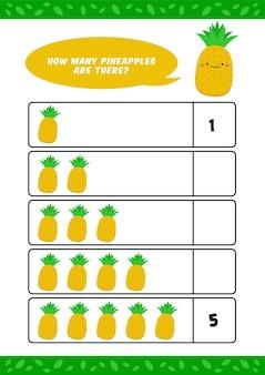 Kinderkinder kindergarten homeschooling zählen lernen arbeitsblatt mit niedlichen ananasfrucht illustration vorlage