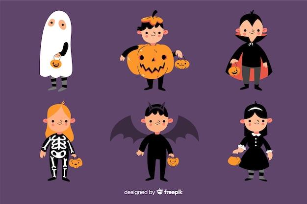Kinderkostümsammlung für halloween