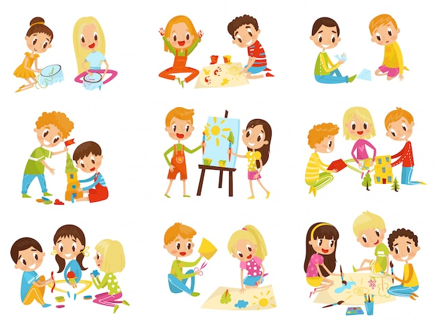 Kinderkreativitätsset, kinderkreativitäts-, bildungs- und entwicklungskonzept illustrationen auf einem weißen hintergrund
